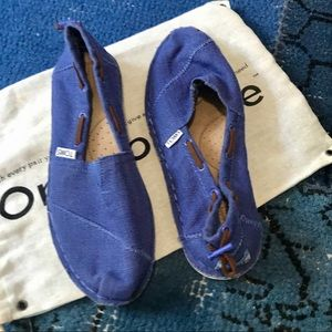 Toms Canvas Slip On Blue Boat Shoes